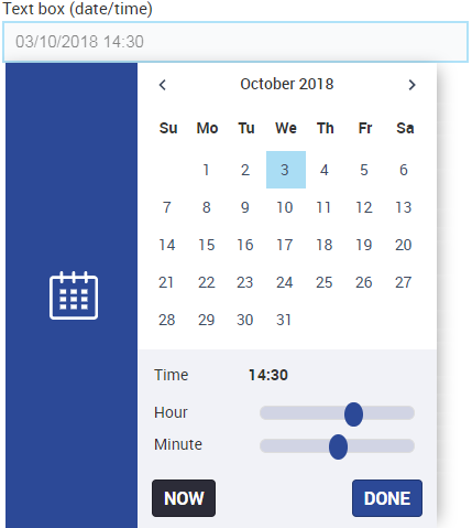 Text box for date/time